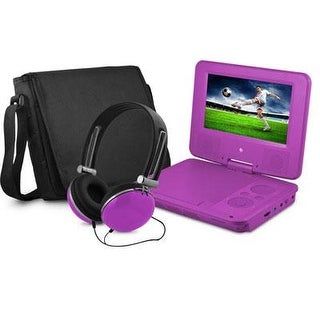 "Ematic Epd707pr 7"" Swivel Portable Dvd Player With Headphones And Bag, Purple"