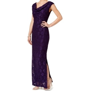 Connected Apparel NEW Purple Women's 14 Lace Sequined Ball Gown Dress