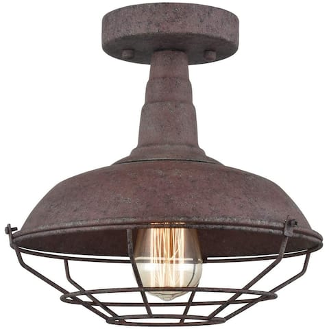 Marsala Farmhouse Semi-Flush Ceiling Lights Rust Metal Cage - Rustic