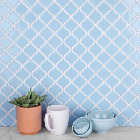 "SomerTile Hudson Tangier Cashmere Blue 12.38"" x 12.5"" Porcelain Mosaic Tile"