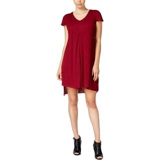 Kensie Womens Casual Dress Ribbed Flutter Sleeves