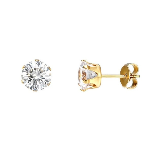 14k Gold Tone Earrings Solitaire Round Cut CZ Stainless Steel 5mm Studs Prong