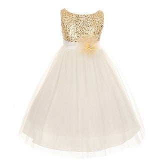Little Girls Gold Sequin Tulle Flower Girl Special Occasion Dress 2-6