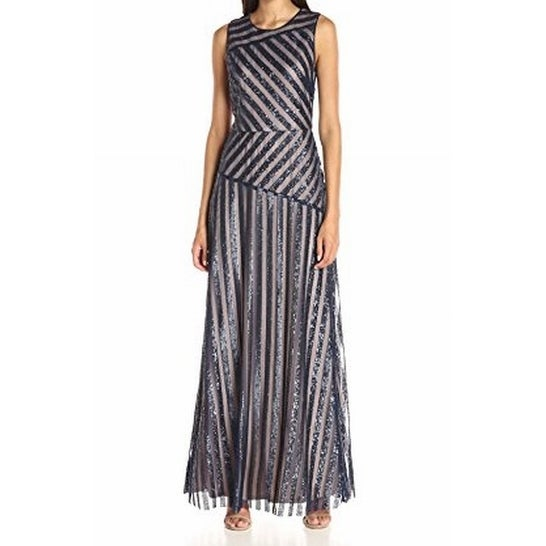 1c4e389ace15b Donna Morgan NEW Blue Nude Womens Size 4 Striped Sequin Gown Dress