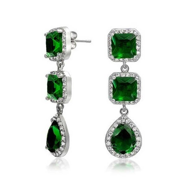 58d3b48541 Long Green Teardrop Square Halo Pave CZ Prom Pageant Statement Chandelier  Earrings Imitation Emerald Silver Plated Brass