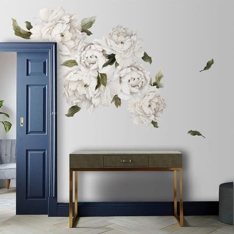 White Peony Flowers Removable Floral Wall Decal Set