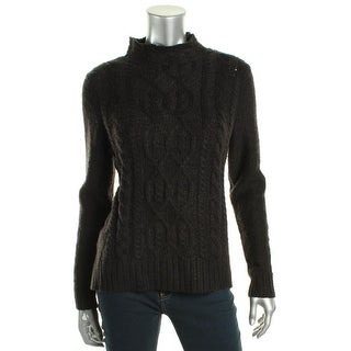 Kensie Womens Mock Turtleneck Sweater Cable Knit Ribbed Trim - m