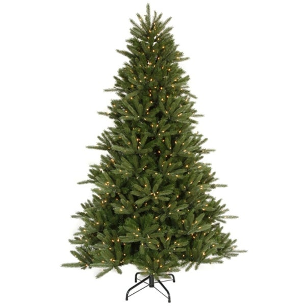 6.5' Pre-Lit Vermont Fir Instant Shape Artificial Christmas Tree - Clear Lights - green