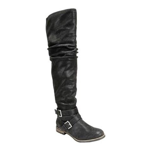 Carlos by Carlos Santana Women's Nina Riding Boot Black Man Made Leather