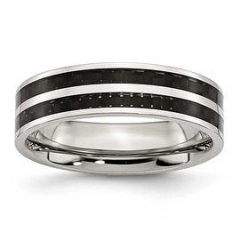 Chisel Stainless Steel 6mm Double Row Black Carbon Fiber Inlay Polished Band