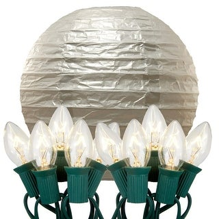 Pack of 10 Silver Glowing Garden Patio Round Lighted Chinese Paper Lanterns 14""