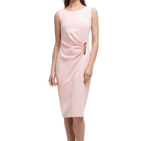 DKNY Pink Women's Size 8 Ruched Hardware Crewneck Sheath Dress