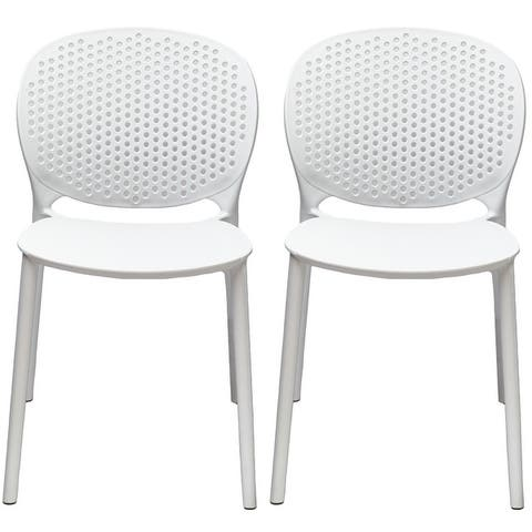 Armless Stacking Molded Matte Dining Side Chairs (Set of 2)