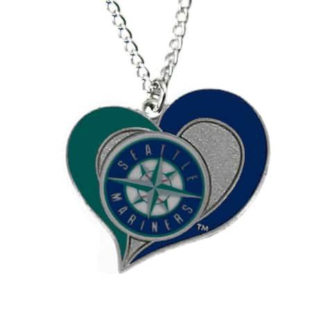 "MLB Seattle Mariners Sports Team Logo Swirl Heart Necklace - 3/4"" Charm & 18"" chain"
