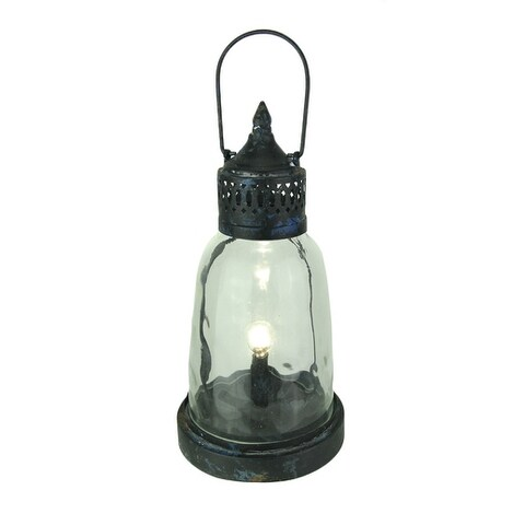 Old Style Metal and Glass Lantern Accent Lamp