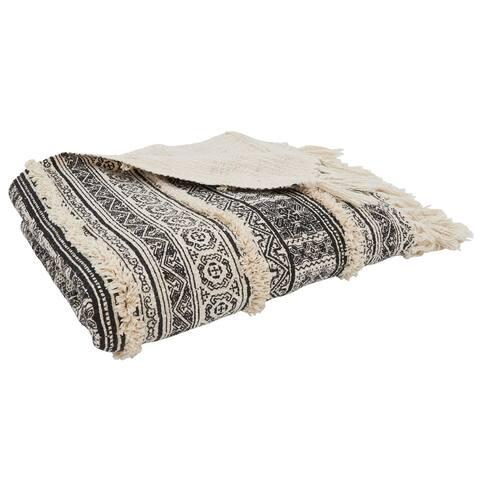 Throw Blanket With Block Print Embellished Design