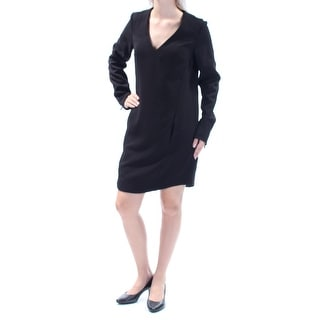 RACHEL ROY Womens Black Long Sleeve V Neck Above The Knee Shift Dress  Size: 2