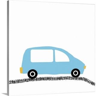 """Blue Car on Road"" Canvas Wall Art"