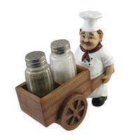 DWK Chef with Wheelbarrow Cart Salt and Pepper Shaker Set - Novelty Spice Containers/Holders - Kitchen and Dining Decor