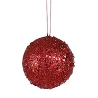 "Fancy Red Hot Holographic Glitter Drenched Christmas Ball Ornament 4"" (100mm)"