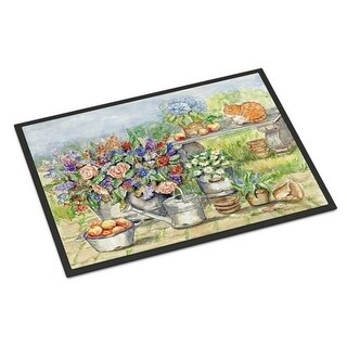 Carolines Treasures APH3567MAT Patio Bouquet & Cat Indoor or Outdoor Mat 18 x 27 in.