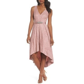 Link to Eliza J Belted Lace High/Low Dress, Blush, 6 Similar Items in Dresses