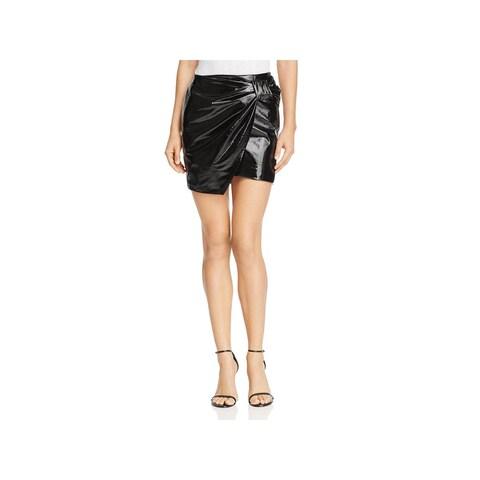 Sunset & Spring Womens Mini Skirt Patent Leather Metallic