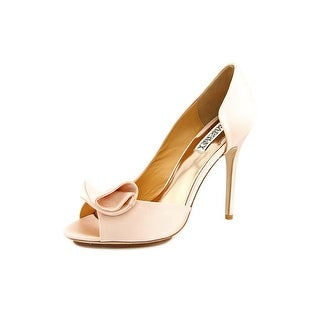 Badgley Mischka Tarian-II Women Peep-Toe Canvas Pink Heels