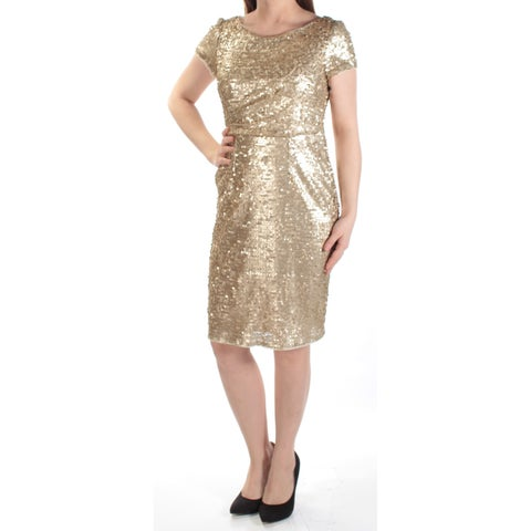 Womens Gold Short Sleeve Knee Length Sheath Party Dress Size: 8