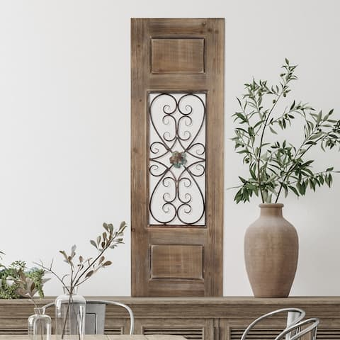 "50"" Decorative Metal & Wood Door Panel  Iron Scrollwork in a Rustic Wood Door Style Frame by Hastings Home"