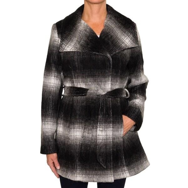 Braetan Womens Belted Gradient Plaid Wool Coat