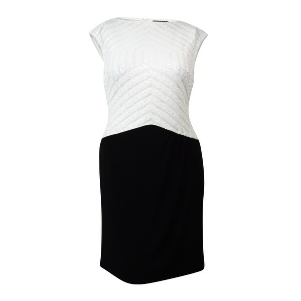 2567470f6b5 Shop Lauren Ralph Lauren Women s Sequined Colorblock Jersey Dress - Black  White - On Sale - Free Shipping Today - Overstock - 16677501