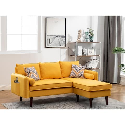 Mia Yellow Linen Fabric Sectional Sofa Chaise with USB Charger & Pillows