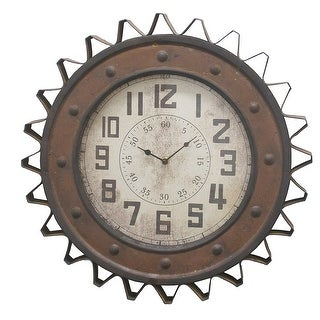 Three Hands Metal Wall Clock Gear Design
