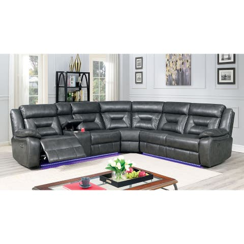 Furniture of America Fele Contemporary Grey Power Reclining Sectional