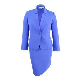 Tahari ASL Women's Petite Star-Neck Skirt Suit - deep lavender