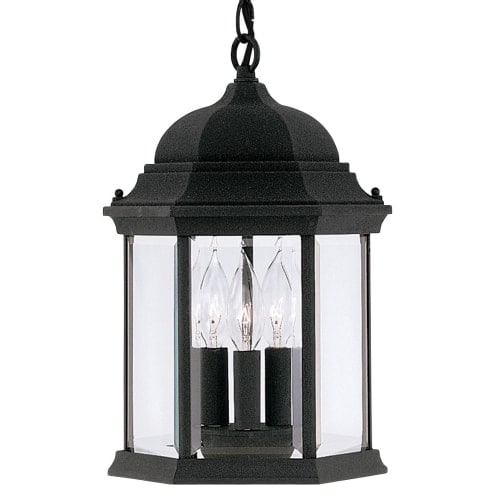 "Designers Fountain 2984-BK 3 Light 9.5"" Cast Aluminum Hanging Lantern from the Devonshire Collection"