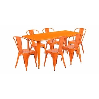 """Offex 31.5"""" x 63"""" Rectangular Orange Metal Indoor Table Set with 6 Stack Chairs [OF-ET-CT005-6-30-OR-GG]"""
