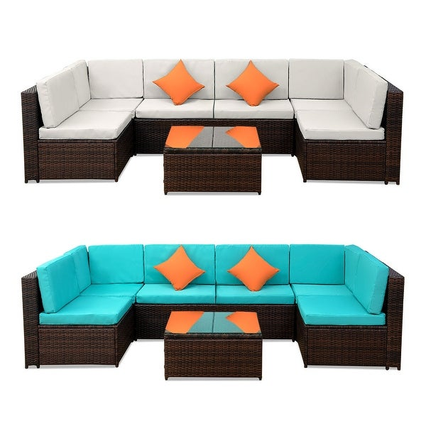Shop Patio Furniture Sofa Set Wicker Chair for Outdoor ... on Safavieh Outdoor Living Granton 5 Pc Living Set id=65885