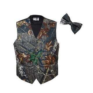 Mossy Oak Tuxedo Vest with Matching Bow Tie - Camo