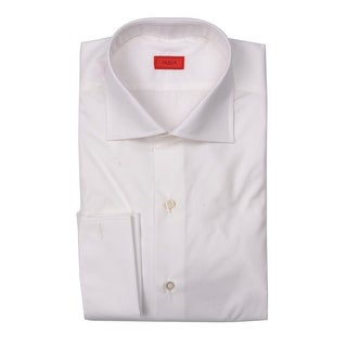 Isaia Mens Basic White Solid Cotton Button Down Shirt