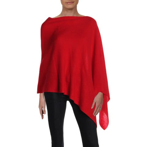 Private Label Womens Poncho Sweater Cashmere Asymmetric - O/S