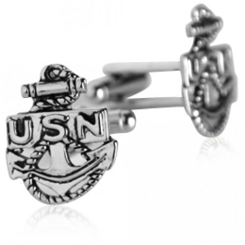 US Navy Anchor Cufflinks Silver Military