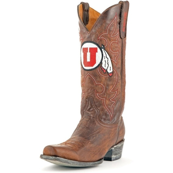 Gameday Boots Mens Leather College Team Utah Utes Brass