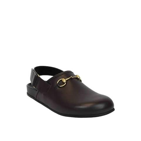 61150d1c0aaf Gucci Dark Brown Leather Classic Horsebit Calf Sandals 473491 2140