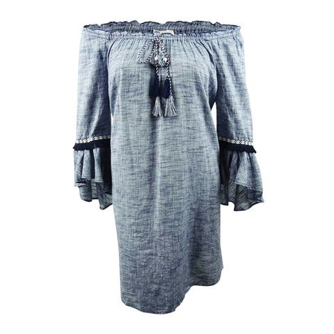 Style & Co. Women's Plus Size Off-The-Shoulder Flutter-Sleeve Dress - Melly Slub