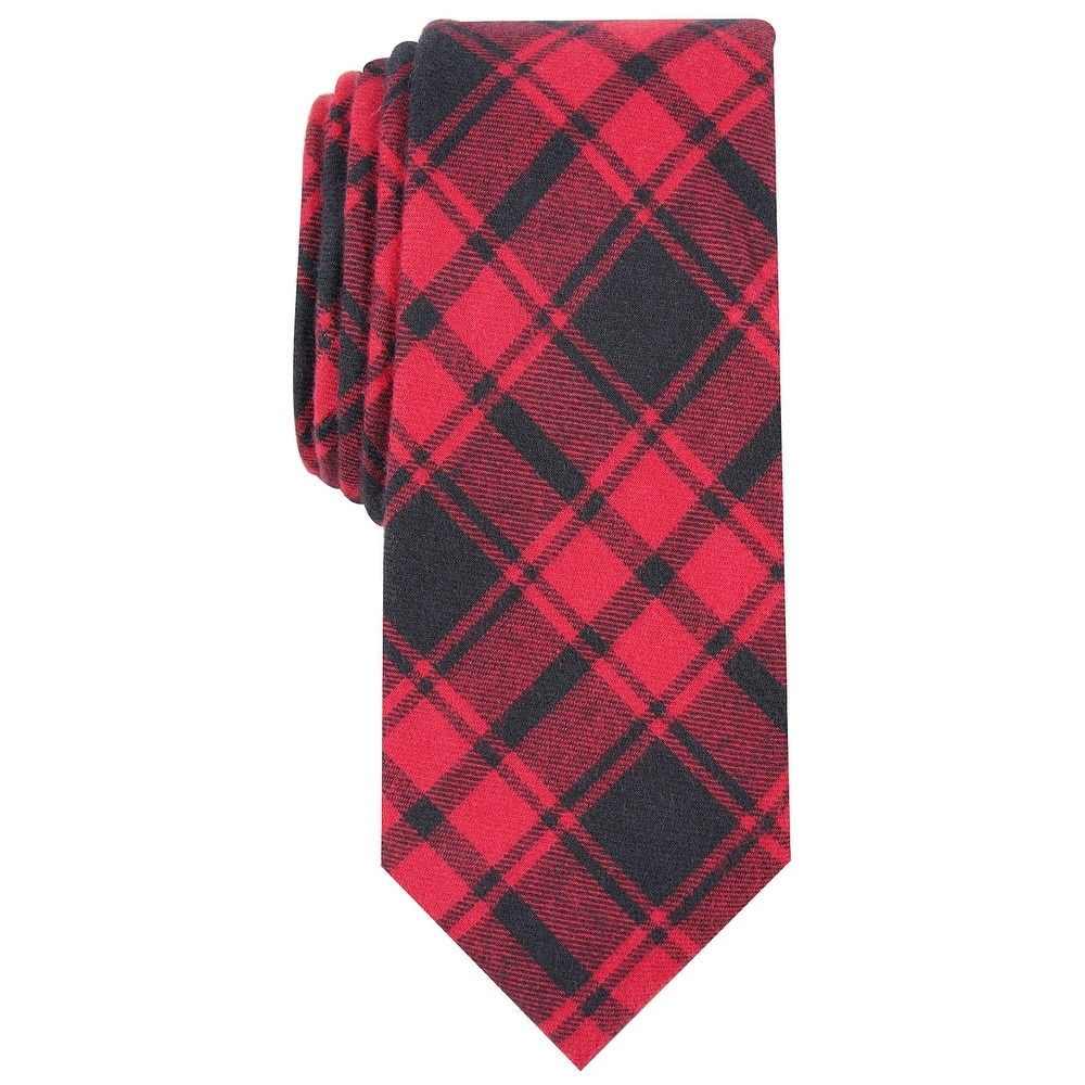Bar III Red Black Men/'s Slim Skinny Checkered Print Neck Tie