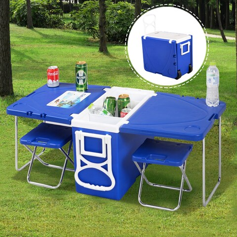 Costway Multi Function Rolling Cooler Picnic Camping Outdoor w/ Table & 2 Chairs Blue
