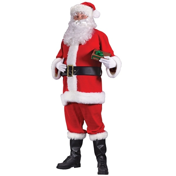 Red and White Regency Santa Claus Women Christmas Costume Suit - Large