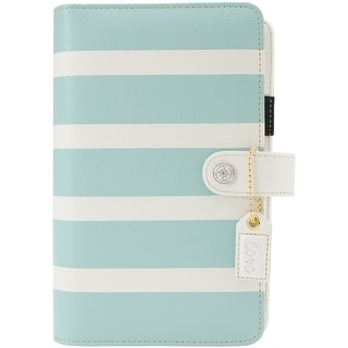 """Color Crush Faux Leather Personal Planner Kit 5.25""""X8""""-Teal & White Stripe"""